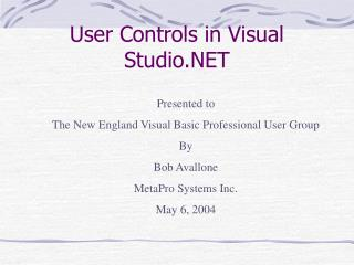 User Controls in Visual Studio