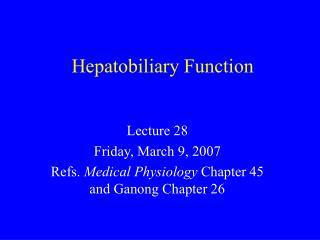 Hepatobiliary Function