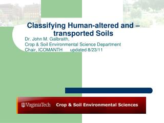 Classifying Human-altered and –transported Soils
