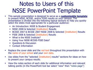 Notes to Users of this NSSE PowerPoint Template