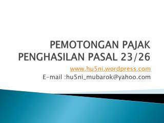 PEMOTONGAN PAJAK PENGHASILAN PASAL 23/26