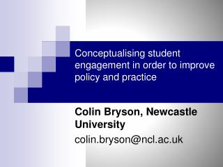 Conceptualising student engagement in order to improve policy and practice