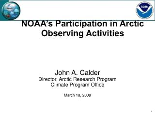 NOAA's Participation in Arctic Observing Activities