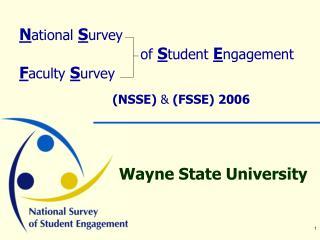 N ational S urvey of S tudent E ngagement F aculty S urvey (NSSE)  &  (FSSE) 2006