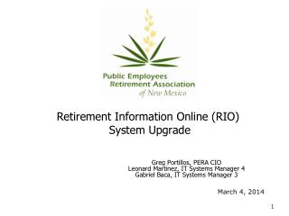 Retirement Information Online (RIO)  System Upgrade