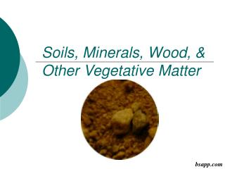 Soils, Minerals, Wood, & Other Vegetative Matter