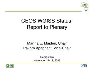 CEOS WGISS Status: Report to Plenary