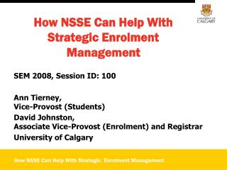 How NSSE Can Help With Strategic Enrolment Management