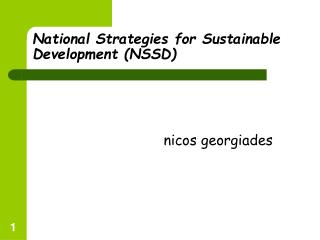 National Strategies for Sustainable Development (NSSD)
