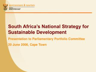 South Africa's National Strategy for Sustainable Development