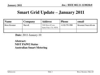 Smart Grid Update � January 2011