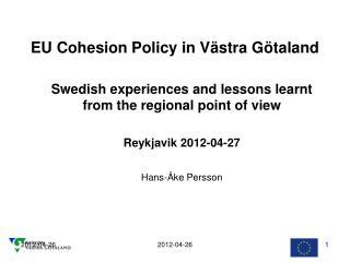 EU Cohesion Policy in Västra Götaland