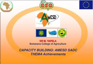 DR M. TAPELA Botswana College of Agriculture CAPACITY BUILDING: AMESD  SADC THEMA  Achievements