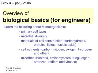 Overview of biological basics (for engineers)