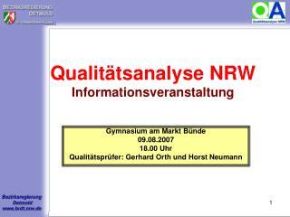Qualitätsanalyse NRW Informationsveranstaltung