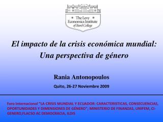 El impacto de la crisis económica mundial: Una perspectiva de género
