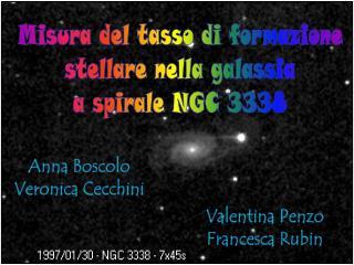 Misura del tasso di formazione stellare nella galassia a spirale NGC 3338