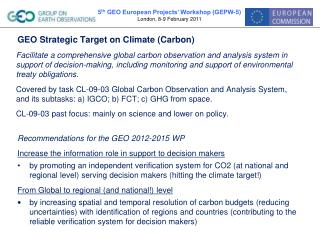 GEO Strategic Target on Climate (Carbon)