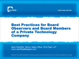 Best Practices for Board Observers and Board Members of a Private Technology Company