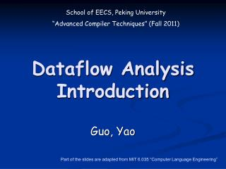 Dataflow Analysis Introduction