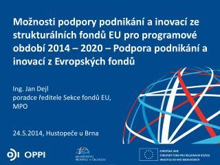Ing. Jan Dejl poradce ředitele Sekce fondů EU, MPO