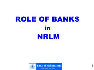 ROLE OF BANKS  in NRLM