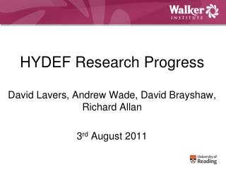 HYDEF Research Progress