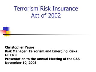 Terrorism Risk Insurance Act of 2002