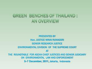 Green  benches of Thailand : An overview