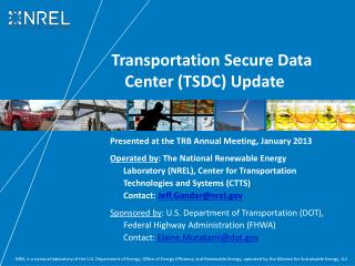 Transportation Secure Data Center (TSDC) Update