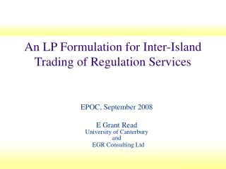 An LP Formulation for Inter-Island Trading of Regulation Services