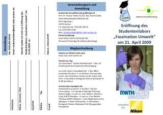 Fax: 0241/80-22182 Email: studentenlabor@bio5.rwth-aachen.de