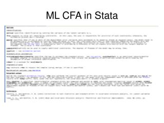 ML CFA in Stata