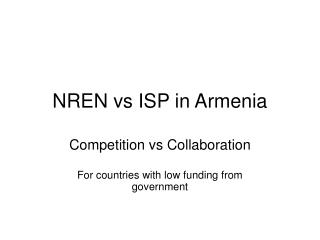 NREN vs ISP in Armenia