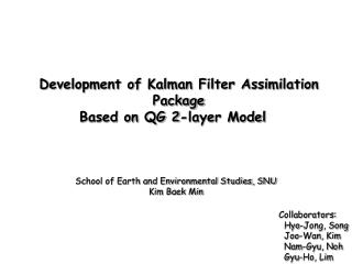 Development of Kalman Filter Assimilation Package  Based on QG 2-layer Model
