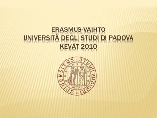 Erasmus-vaihto Università degli studi  di  Padova kevät 2010