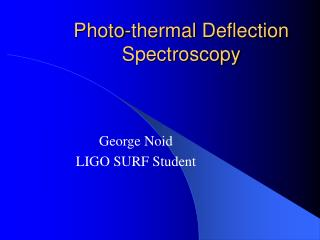 Photo-thermal Deflection Spectroscopy