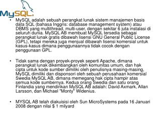 MySQL dan SQL (singkatan dari Structured Query Language)