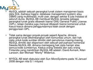 MySQL dan SQL (singkatan dari Structured Query Language)