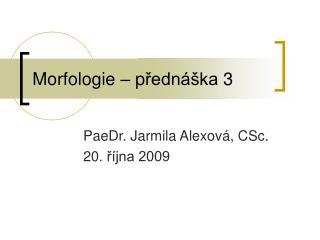 Morfologie – p řednáška  3