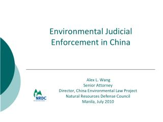 Environmental Judicial Enforcement in China
