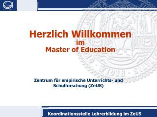 Herzlich Willkommen im  Master of Education