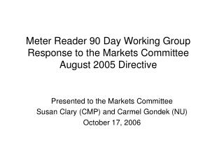 Meter Reader 90 Day Working Group Response to the Markets Committee  August 2005 Directive