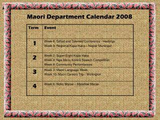 Maori Department Calendar 2008