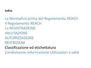 Indice  La Normativa prima del Regolamento REACH  Il Regolamento REACH  La REGISTRAZIONE