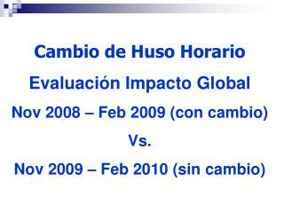 Cambio de Huso Horario Evaluación Impacto Global Nov 2008 – Feb 2009 (con cambio) Vs.