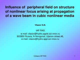 Vlasov S.N.  IAP RAS e-mail: vlasov@hydro.apple.sci-nnov.ru