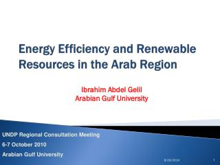 Energy Efficiency and Renewable Resources in the Arab Region