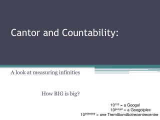Cantor and Countability: