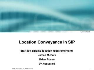 Location Conveyance in SIP